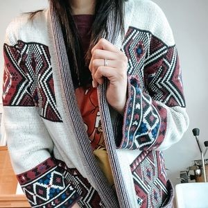 Tribal Sweater /thick cardigan (S)